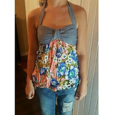Floral halter Block styled halter with coral/peach bottom and light blue top. Mimi Chica Tops Blouses