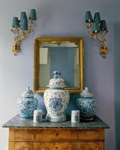 Serene blue with a hint of gold and teal. #HomeDecor