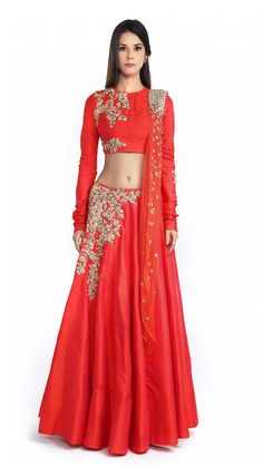 Rust Embellished Lengha Set