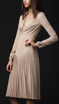 Burberry Prorsum pleated silk v-neck dress 1