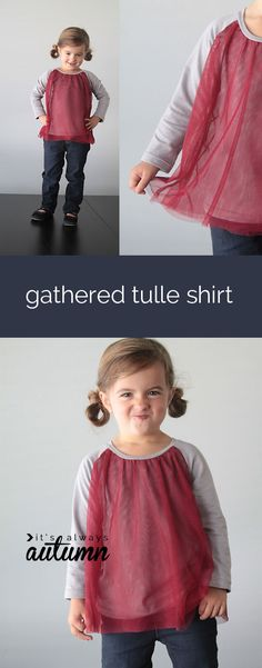 cute handmade gathered tulle t-shirt! lots of girls sewing tutorials on this site.
