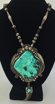 Turquoise Necklaces - Navajo Turquoise, Bear Claw and Silver Pendant with Silver Beaded Chain