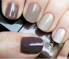shades of brown. chanel polish. nails.