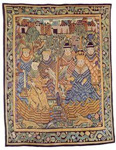 Norsk billedvev 1550-1800 / absolutetapestry.com  Kong Solomon og hans brud Sulamite, omkring 1570, fra Hjartdal i Telemark. Nordiska Museet, Stockholm.