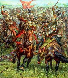 Polish hussars charge against Turkish heavy cavalry - A. F. Telenik
