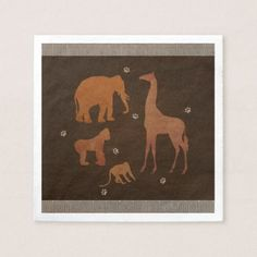 Vintage Brown African Safari Jungle Zoo Animals Paper Napkin - bridal shower gifts ideas wedding bride