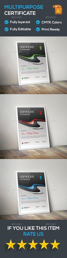Certificate by curvedesign Vector EPS Files Fully Layered Stationery Printing, Stationery Templates, Stationery Shop, Stationery Design, Certificate Design, Certificate Templates, Stencil Templates, Print Templates, Certificate Of Achievement