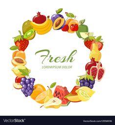 Fruits healthy eating frame isolated over vector image on VectorStock Healthy Fruits, Healthy Eating, Juice Logo, Jam Label, Kitchen Logo, Fruit Logo, Food Clips, Fruit Art, Ceramic Painting
