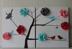 Bird Nursery Decor Baby Girl Nursery Coral by JoanitaBonita