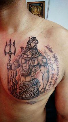 Shiva Tattoo by Artist Sandip Uttam, Bold Tattoo Studio Hanuman Tattoo, Kali Tattoo, Neo Tattoo, Chest Tattoo, Hindu Tattoos, God Tattoos, Body Art Tattoos, Mahadev Tattoo, Trishul Tattoo Designs