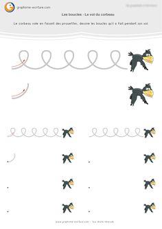 Graphisme MS Les boucles : Le vol en boucle du corbeau