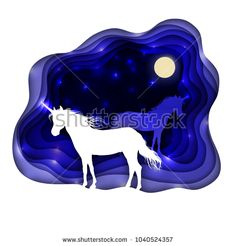 Two unicorns against the background of the night sky. Illustration of a paper art style.