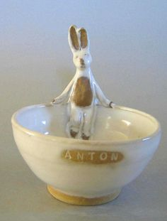 ceramic baby bowl by Animals in my Soup- an Anton bunny bowl would be perfect for my oatmeal