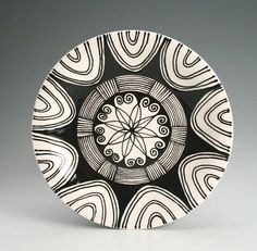 Mandala Plate Hand Painted Black and White by owlcreekceramics, $22.00