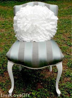 this is an office chair redo even i think i could do! love the colors and trim