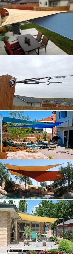shade sail patio Backyard Shade, Outdoor Shade, Patio Shade, Pergola Shade, Backyard Patio, Backyard Landscaping, Pergola Patio, Pergola Kits, Rooftop Patio