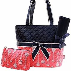Arrow Coral Quilted Diaper Bag With Navy Trim