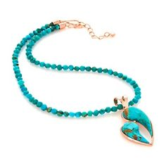 "Jay King Turquoise ""Mother and Child"" Pendant with 18"" Beaded Necklace at HSN.com."