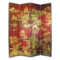 Wayborn Furniture 2292 Red Chinese Screen | Lighting