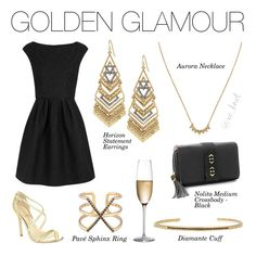 Stella & Dot | Golden Glamour | Gold, black and hand-set micro pavé equal…