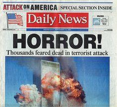 9 11 NY World Trade Center Terrorist Attack Daily News Newspaper 9/12/01 September 12 2001