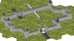 MechCommander 2 - Hex Modular City Walls for Diorama Free Paper Model Download