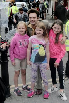 Seb with little fans in Ireland | Sebastian Stan filming We've Always Lived in the Castle 2016