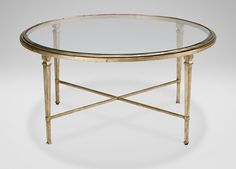 Brass & Glass oval coffee table