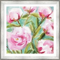 Pink Peonies painting print in a rustic farmhouse, cottage chic frame. Perfect for a shabby chic home or professional office. Artwork by Beverly Brown. Peony Painting, Painting Prints, Art Prints, Framed Wall Art, Canvas Wall Art, Framed Prints, Floral Artwork, Floral Paintings, Landscape Paintings