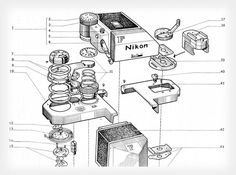 Schematics of Nikon F Camera  http://petapixel.com/2013/05/09/these-schematics-offer-an-exploded-view-of-old-nikon-slr-cameras/