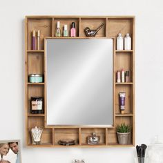 home accents shelves Gretel Rustic Wood Cubby Framed Wall Storage Accent Mirror Small Storage Shelves, Wall Storage, Glass Shelves, Wood Shelves, Decorative Wall Shelves, Book Storage Small Space, Unique Wall Shelves, Vanity Shelves, Wall Shelves Design