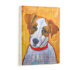 Jack Russell Wood Portrait L, $65, now featured on Fab.