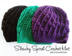 Free pattern to make your own Slouchy Spiral Crochet Hat! It will soon become your favorite fall accessory. Pick up several skeins of yarn because you'll want to make one in every color!