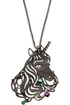 """Wear with a mane of hair and a touch of sparkle, and keep believing"". Fantasy Jewelry, Jewelry Art, Devine Design, Black Unicorn, Tatty Devine, Unicorn Necklace, Acrylic Art, Handmade Jewelry, Bling"