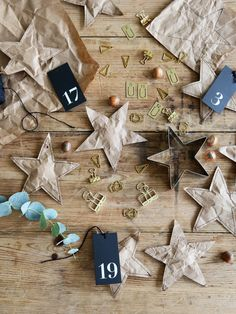 Sewn brown paper stars for small gifts.