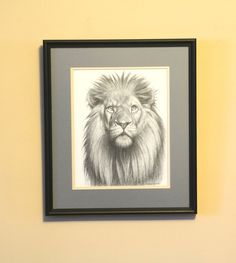 ARTFINDER: Lion drawing by Karl Hamilton-Cox - A drawing of Lion that comes double mounted and framed with non-reflective glass ready to wall hang. The drawing area is the size quoted includes th. Animal Drawings, My Drawings, Lion Drawing, Drawing Art, Sketching Tips, Learn To Draw, Paintings For Sale, Lions, Hamilton