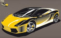 Illustration d'une Voiture de Course Lamborghini Jaune