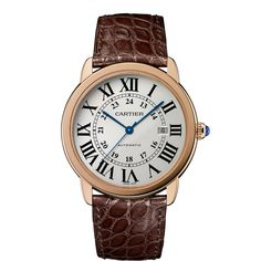 Ronde Solo de Cartier watch, extra-large model - Automatic, pink gold and steel, leather - Fine Timepieces for men - Cartier