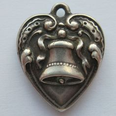 Vintage Sterling Puffy Heart Charm Bell 1940's from Clovie's Charm on Ruby Lane