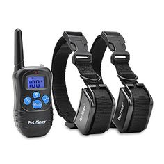 Petrainer 330 Yards Remote Training E-collar Pet998drb Rechargeable and Rainproof 2 Dog Training Collar with Safe Beep, Vibration and Shock Electronic Electric Collar with Silicone, Visible Buttons - OMJ Outdoors