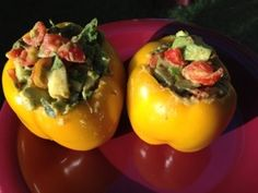 Stuffed peppers raw vegan fruitarian style! Yum! #rawvegan #fruitarian