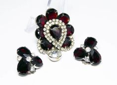 New Listings Daily - Follow Us for UpDates -  Red and White Rhinestone Brooch & Earrings Set - Ruby Red and Clear Rhinestones - Opened Back Settings - Prong Set - #Vintage 1950s Demi offered by #TheJewelSeeker on Etsy.  ... #vintage #jewelry #teamlove #etsyretwt #ecochic #thejewelseeker
