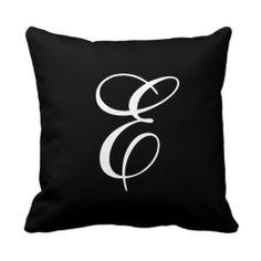 Elegant Black and White Monogram Throw Pillow