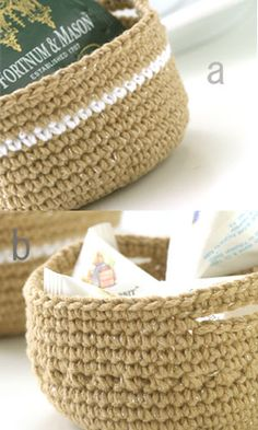 Crochet baskets for books, random knick-knacks, etc