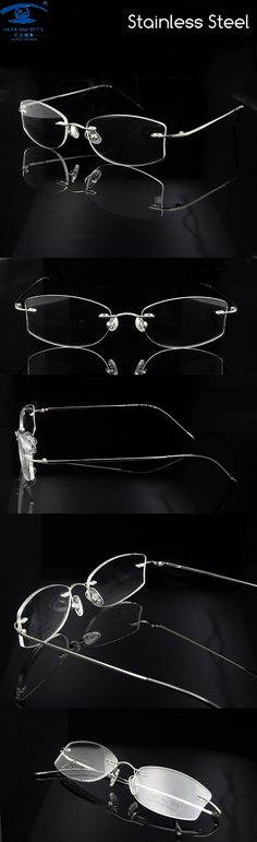 99473cf45d Wholesale (10pcs lot) Luxury Rimless Glass Frames for Women Silver Frame  Myopia Prescription Eyewear for Promotion  50