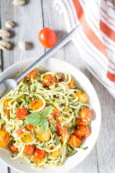 Raw Zucchini and Squash Spaghetti with Roasted Cherry Tomatoes and Pistachio Pesto
