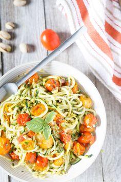 Raw Zucchini and Squash Spaghetti with Roasted Cherry Tomatoes and Pistachio Pesto