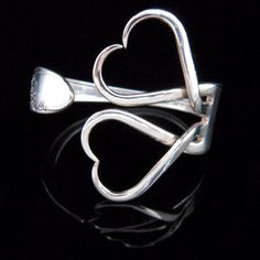 Unique Recycled Silver Fork Bracelet in Original Classic Double Heart Design via Etsy