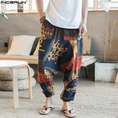 Baggy Cotton Linen Harem Pants Men Hip-hop Women Plus Size Wide Leg Trousers New Casual Vintage Long Pants Pantalon Hombre 2019 Harem Pants Fashion, Harem Pants Men, Men's Pants, Loose Pants, Sweat Pants, Loose Fit, Linen Trousers, Wide Leg Trousers, Printed Trousers