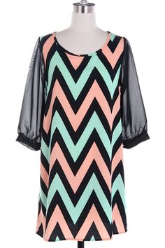 Mint and Peach Chevron with Chiffon Sleeves